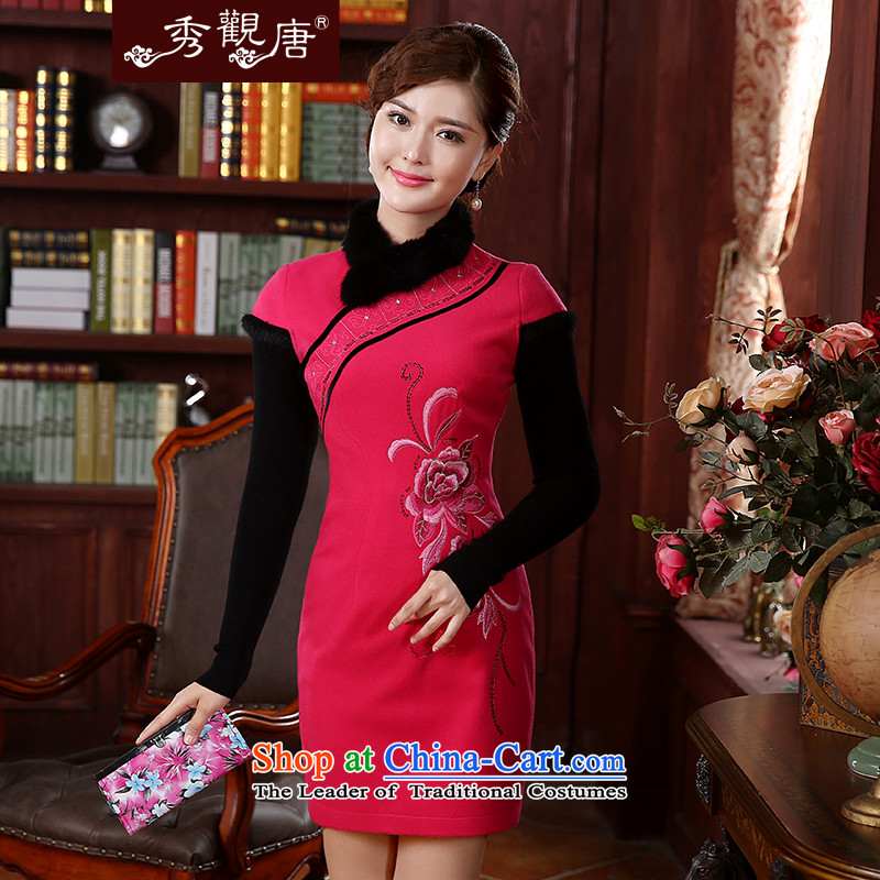 -Sau Kwun Tong- red powder land 2015 autumn and winter new women's bride qipao retro temperament Sau San Mao collar QD4922 better RED聽M