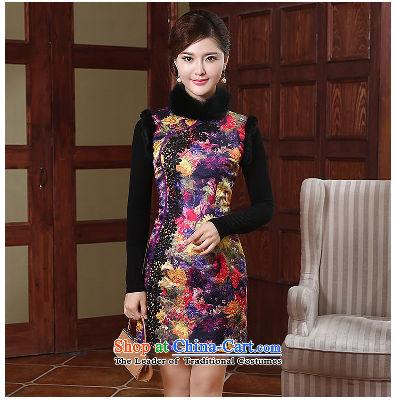 [Sau Kwun Tong] Colors 2015 Winter Female Clamp elegant qipao cotton rabbit hair style new temperament Sau San warm qipao QW490 skirt Suit聽M picture, prices, brand platters! The elections are supplied in the national character of distribution, so action, buy now enjoy more preferential! As soon as possible.