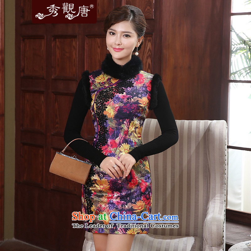 -Sau Kwun Tong- Colors 2015 Winter Female Clamp elegant qipao cotton rabbit hair style new temperament Sau San warm qipao QW490 skirt Suit聽M