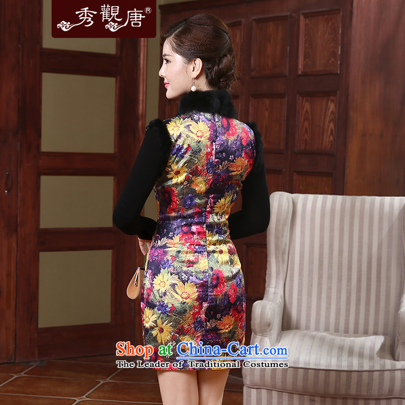 [Sau Kwun Tong] Colors 2015 Winter Female Clamp elegant qipao cotton rabbit hair style new temperament Sau San warm qipao QW490 skirt Suit聽M Soo-Kwun Tong shopping on the Internet has been pressed.