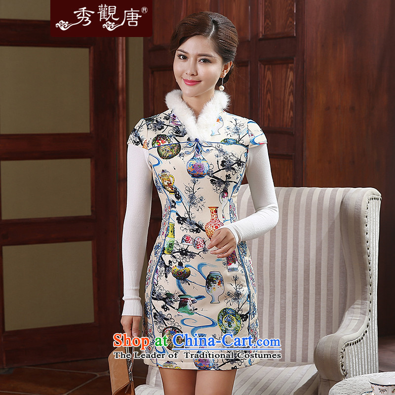 [Sau Kwun Tong] color bottle of winter clothing clip cotton Chinese qipao stamp improved retro ethnic dresses QD4913 SUIT�S