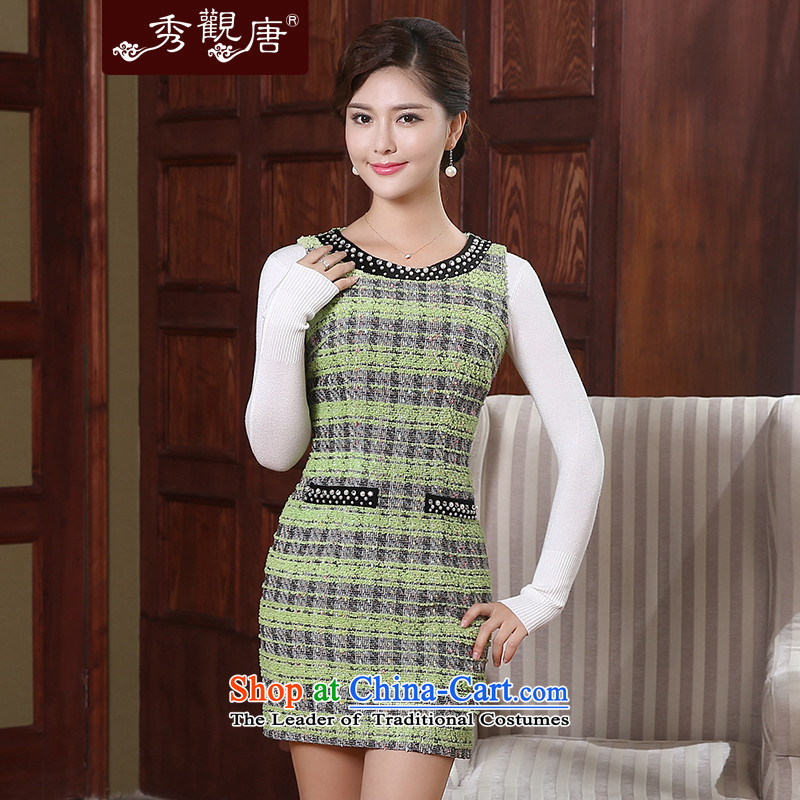 -Sau Kwun Tong- of the autumn and winter 2015 Yat new stylish dresses retro improved women's temperament FW4910 SUIT燲XL