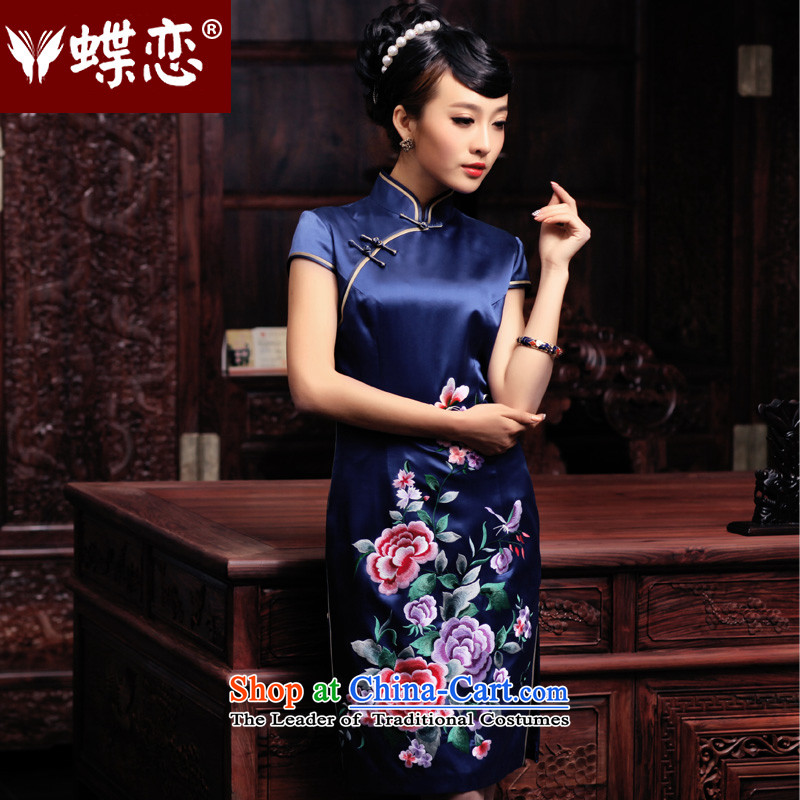 Butterfly Lovers 2015 Autumn new stylish and elegant qipao_ Improved dresses and embroidered heavyweight Silk Cheongsam 49084 blue燲L