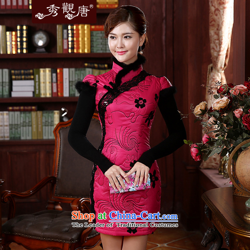 -Sau Kwun Tong- of land for autumn and winter cotton dress qipao folder 2015 New Stylish retro look warm cheongsam dress Sau San QD4921 better red XL