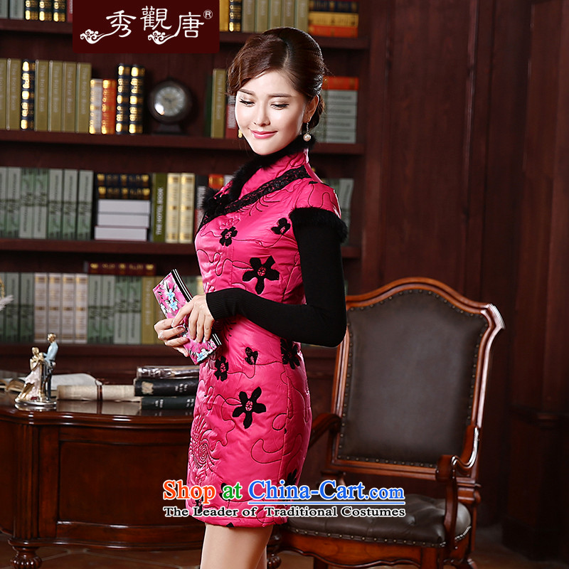 [Sau Kwun Tong] of land for autumn and winter cotton dress qipao folder 2015 New Stylish retro look warm cheongsam dress Sau San QD4921 better red聽XL, Sau Kwun Tong shopping on the Internet has been pressed.