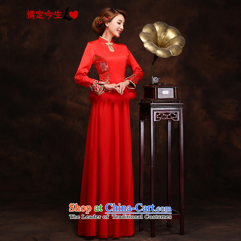 Love of the overcharged bride replacing cheongsam dress wedding dress dresses long red retro style red autumn and winter燣