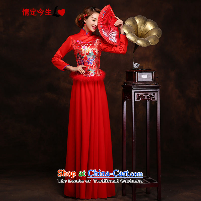 Love of the overcharged bridal dresses wedding dress female autumn and winter embroidered red long improved service Tang replace the bows of the girl who decorated door graphics thin red tailor-made exclusively concept Message Size