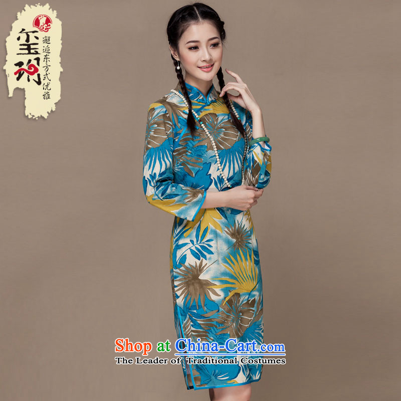 Seal of?new Fall 2015 Long qipao cotton linen retro daily improved qipao ethnic Tang dynasty picture color?XL