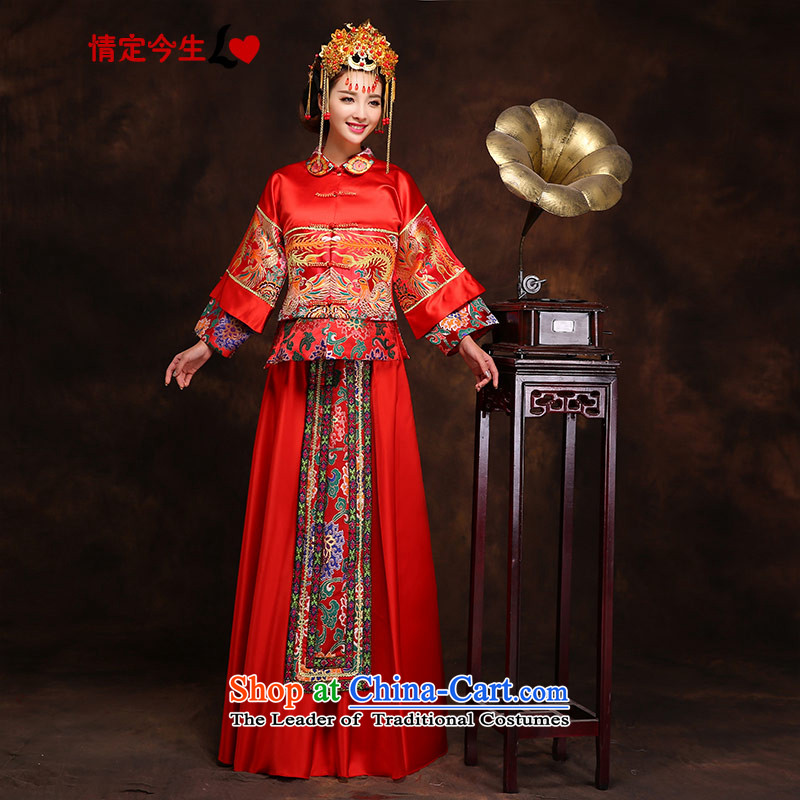 Love of the present Chinese long-soo Wo Service Phoenix cheongsam wedding dress retro wedding dress red bows to Tang dynasty Bong-crown relaxd + SAU wo Kits燲L