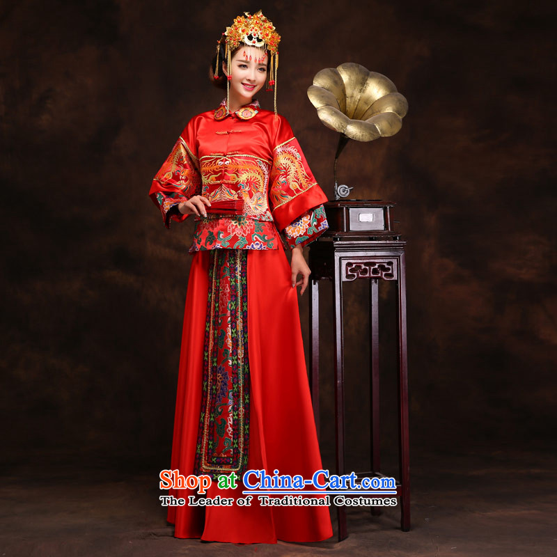 Love of the present Chinese long-soo Wo Service Phoenix cheongsam wedding dress retro wedding dress red bows to Tang dynasty Bong-crown relaxd + Sau Wo servicesXL, love of the overcharged shopping on the Internet has been pressed.