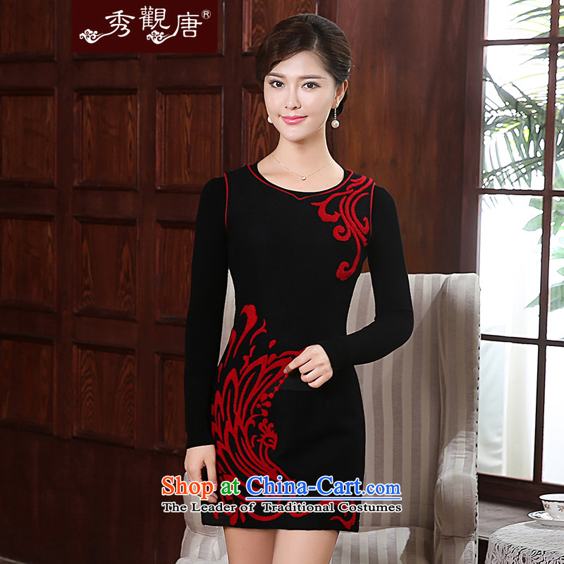 [Sau Kwun Tong] song bong-wool??2015 Fall/Winter Collections qipao new improved retro female FW4905 dresses and black and red?M
