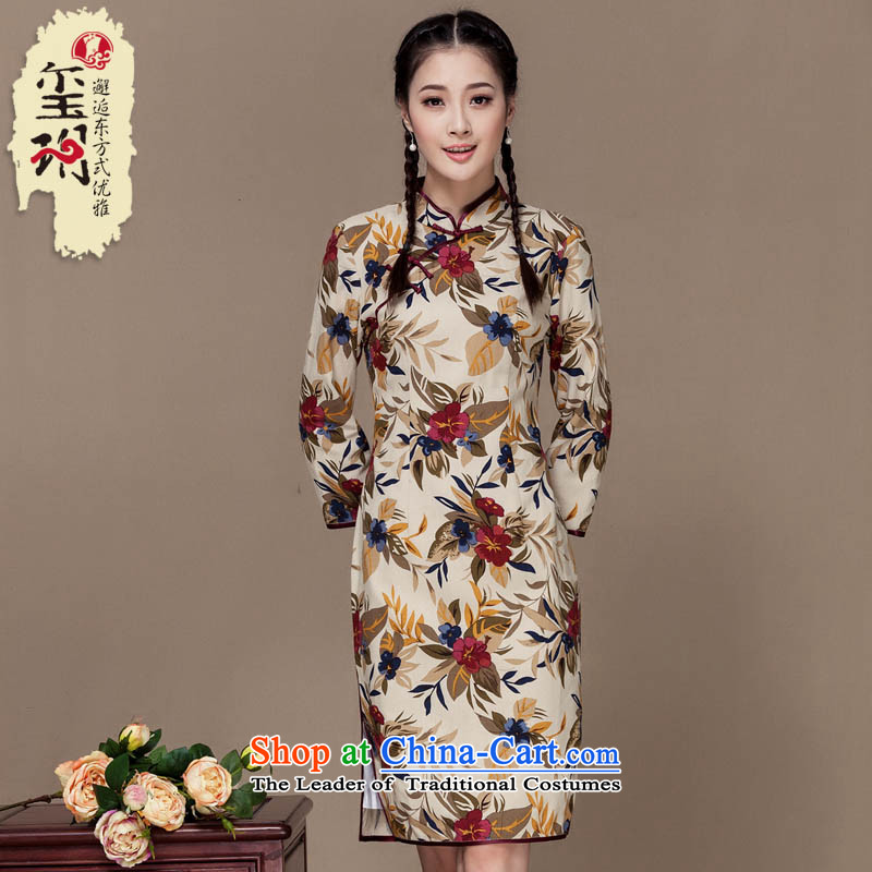 Seal of?new autumn 2015 cotton linen dresses floral arts long-sleeved improved daily linen cheongsam dress photo color?S