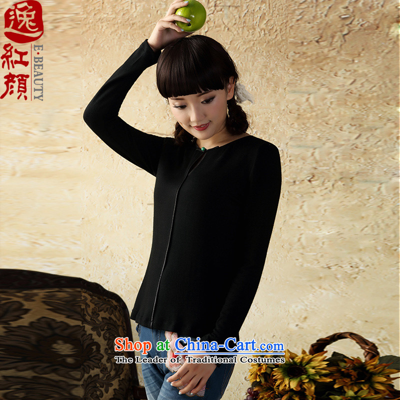 A Pinwheel Without Wind to long-sleeved heart-il knit shirts Autumn Chinese boxed China wind Tang Dynasty Chinese women of ethnic Black燲L