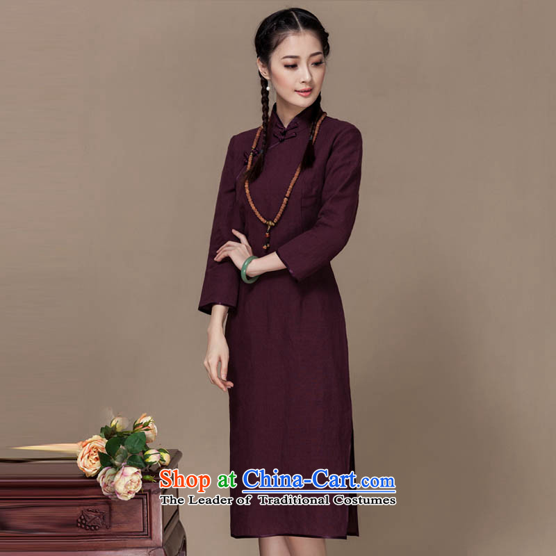 Seal of new autumn 2015 linen dresses of the Republic of Korea Energy energy improvement daily wind long-sleeved long cheongsam dress brown XL