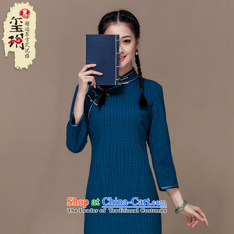 Seal of the new nation autumn 2015 qipao Stylish retro latticed daily short of qipao improved blue skirt S