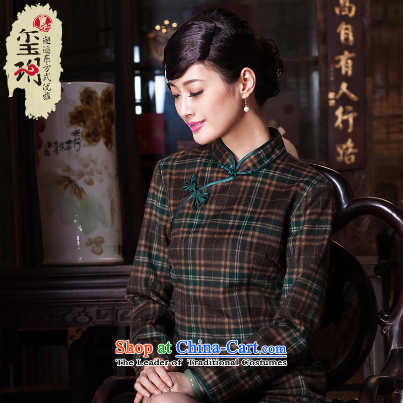 The seal of the?autumn and winter 2015 new republic of korea wind qipao wool Classic Grid daily improvements? ball cheongsam dress photo color?XXL