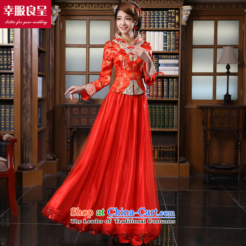 The privilege of serving-leung 2015 Fall_Winter Collections New Red Chinese Brides-Wedding dress long qipao bows services for long winter dress?M