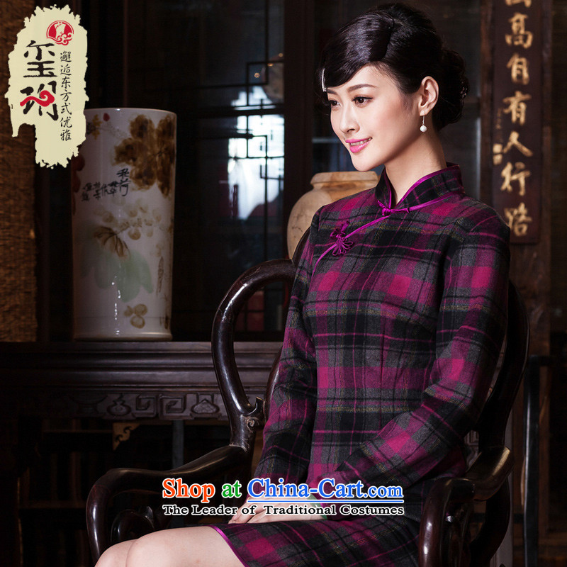 The Seal of?autumn and winter 2015 new aristocratic qipao daily improved wool Ms. retro thick qipao? skirt purple lattices?L