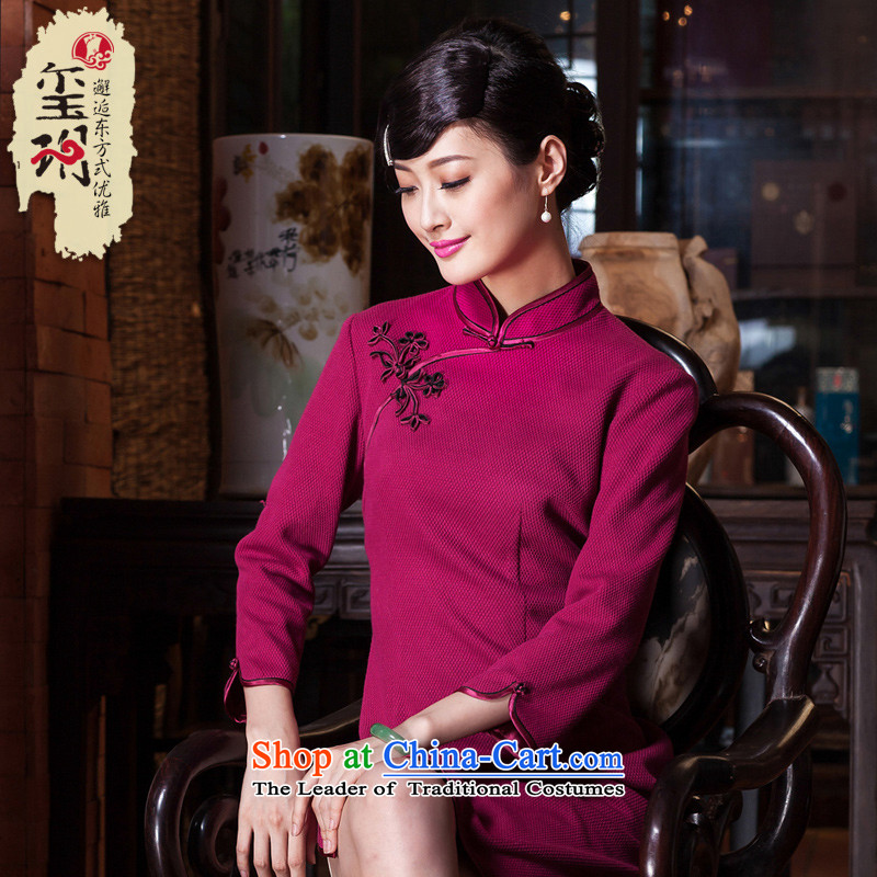 The seal of the autumn and winter 2015 new wedding dresses elegance red daily Ms. improved cheongsam dress in red S