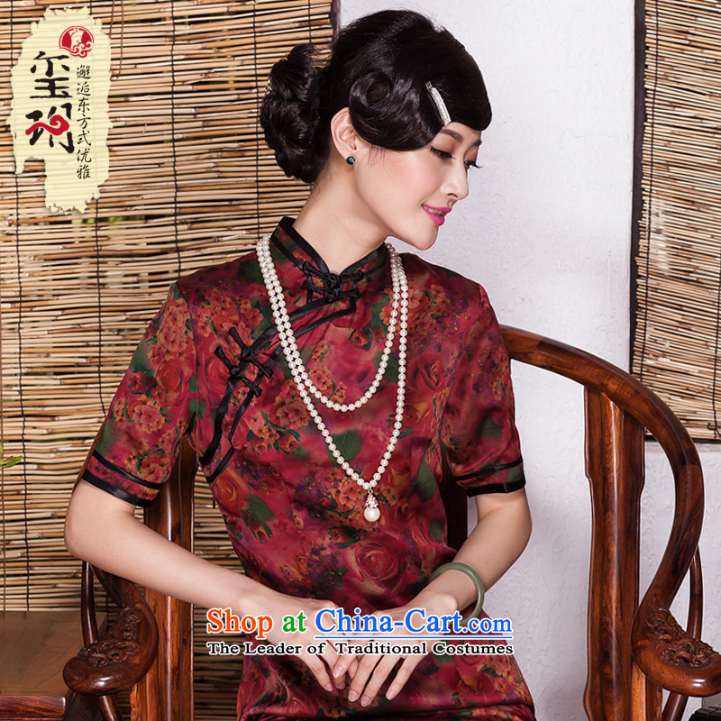 Seal of�new Fall 2015 silk silk yarn female qipao cloud of incense daily improved bilateral banquet cheongsam dress photo color�XL