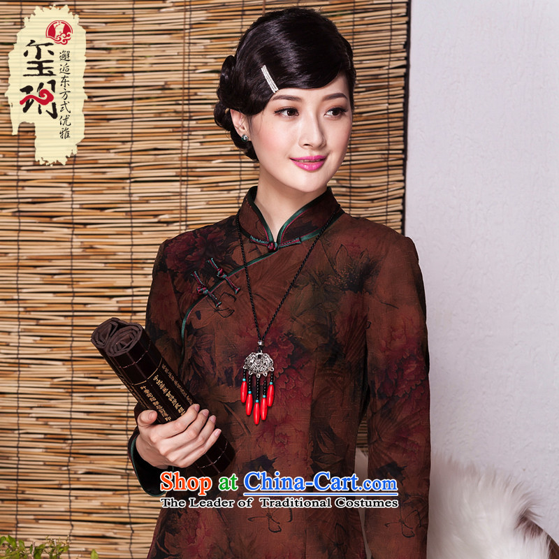 Seal of?new autumn 2015 silk woven silk yarn cloud of incense in long qipao herbs extract improved cheongsam dress photo color banquet?M