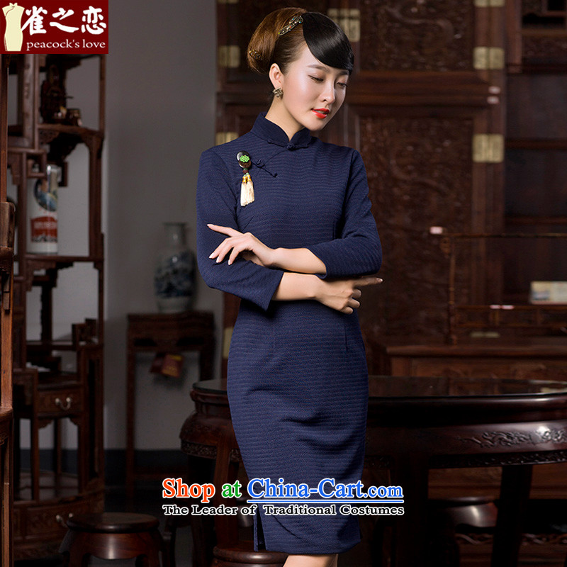 Love of birds Cayman poem聽spring 2015 new cheongsam dress love of birds and stylish 9 cuff improved retro elegant qipao QC587 navy聽XXXL