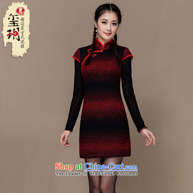 The seal of the?Winter 2015 new streaks folder cotton wool qipao skirt improved thickened about the Republic of Korea, Ms. Shanghai qipao picture color?M
