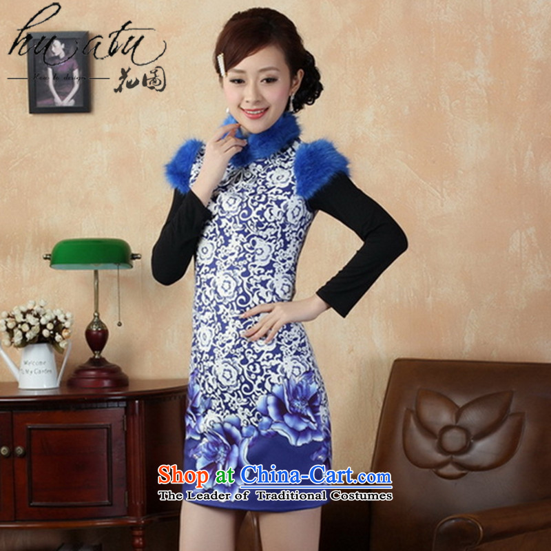 Spend the winter of Tang Dynasty figure female qipao winter improved collar Chinese qipao gross cotton is short qipao national costumes blue on white flowers?M