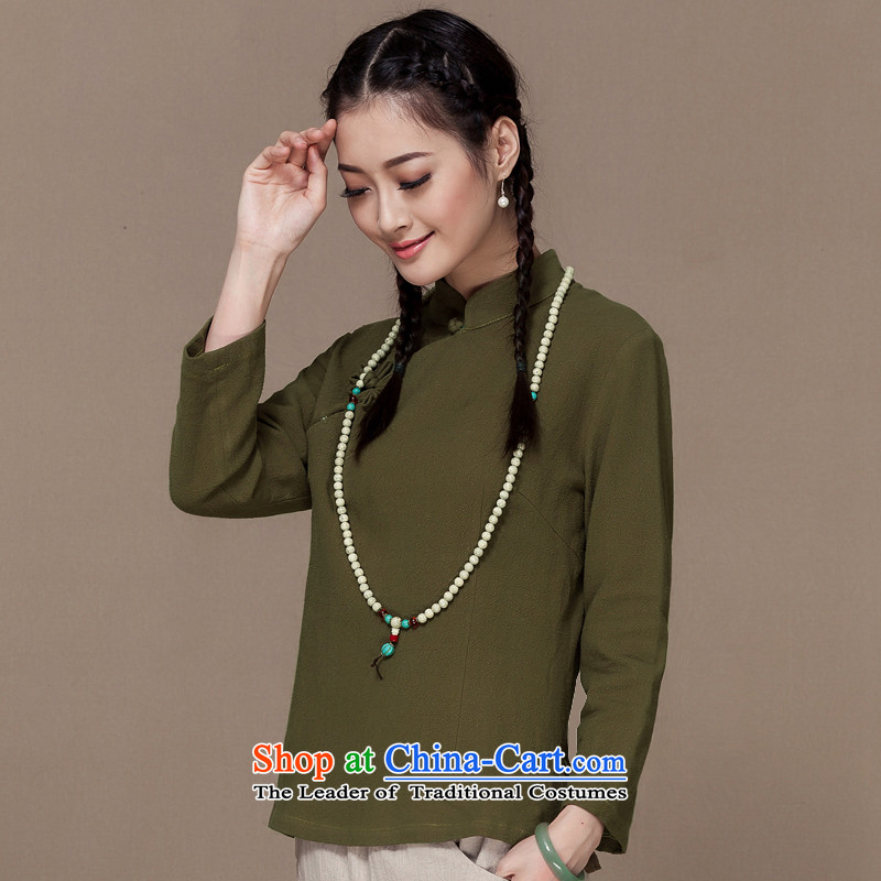 The autumn 2015 new cotton linen long-sleeved Tang tray clip linen Han-Chinese literature and art nouveau style qipao and T-shirt Army Green�XXL