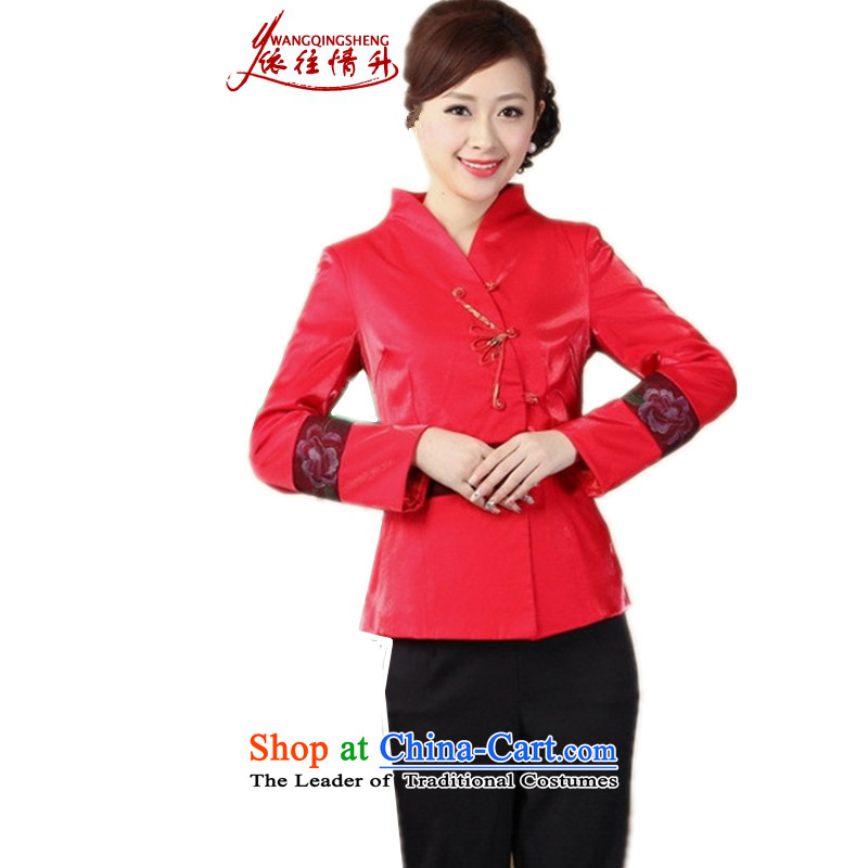 In accordance with the love of older women in the autumn and winter and stylish new product ramp up collar embroidery stitching mother replacing single row detained Tang jackets燣GD_J0071_爌icture color燣