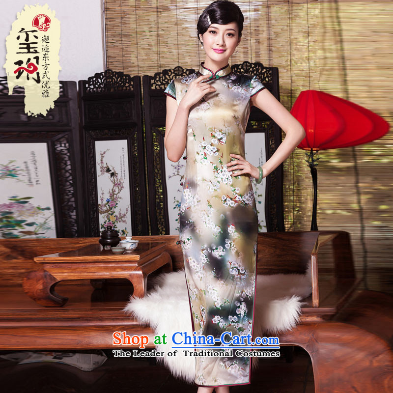 Seal of new Fall 2015 Long heavyweight silk cheongsam dress retro cheongsam pictures of the Republic of Korea color XL