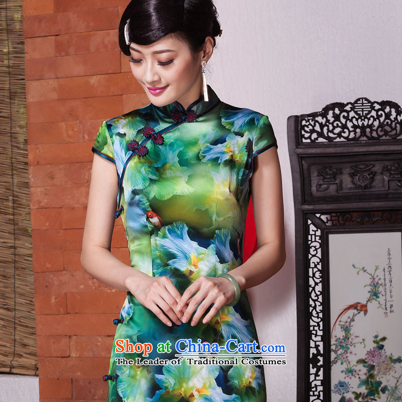 Seal of?new autumn 2015 Silk Cheongsam Annual Meeting of Ms. banquet style qipao Sau San improved picture color?L