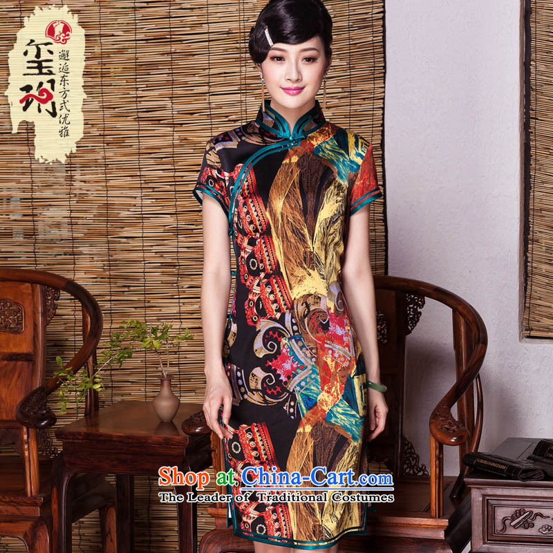 Seal of爊ew Fall 2015 Abstract stamp heavyweight Silk Cheongsam stylish banquet improved color photo of Ms. Short qipao燤