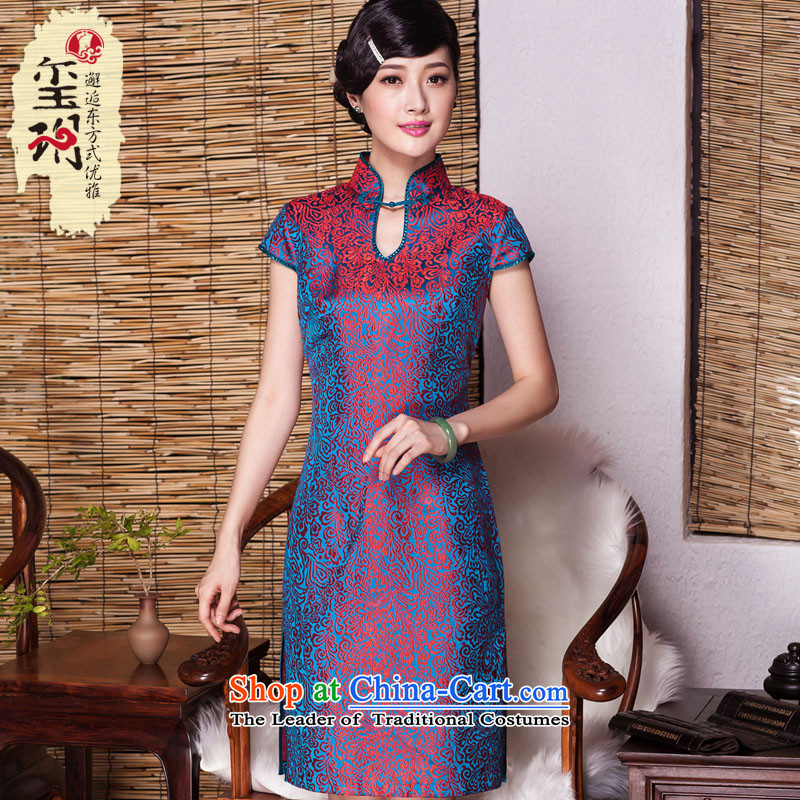 The Seal of?autumn 2015_ sauna silk cheongsam dress retro minimalist short high-end wedding dresses picture color Ms.?XXL