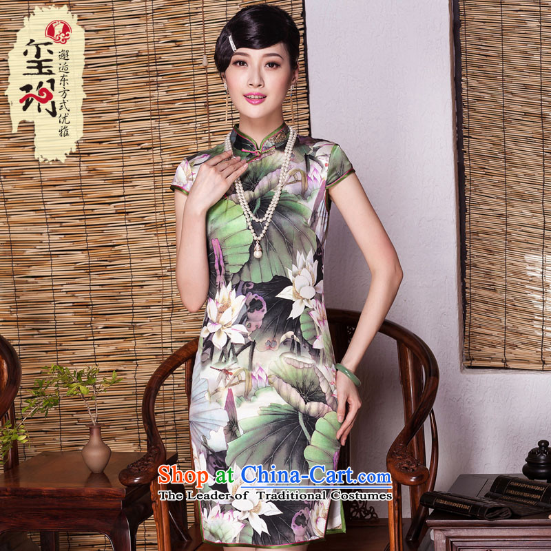 The Seal of summer flowers upscale herbs extract qipao summer improved stylish elegance heavyweight silk cheongsam dress photo color?M