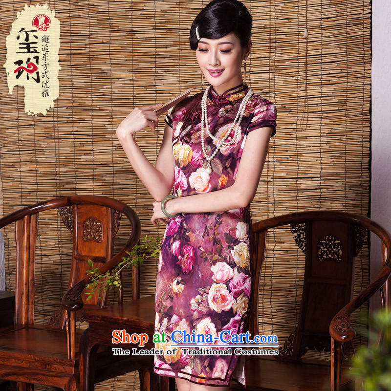 The Seal of?autumn 2015_ rose heavyweight silk cheongsam dress improved Sau San retro herbs extract female qipao picture color?M
