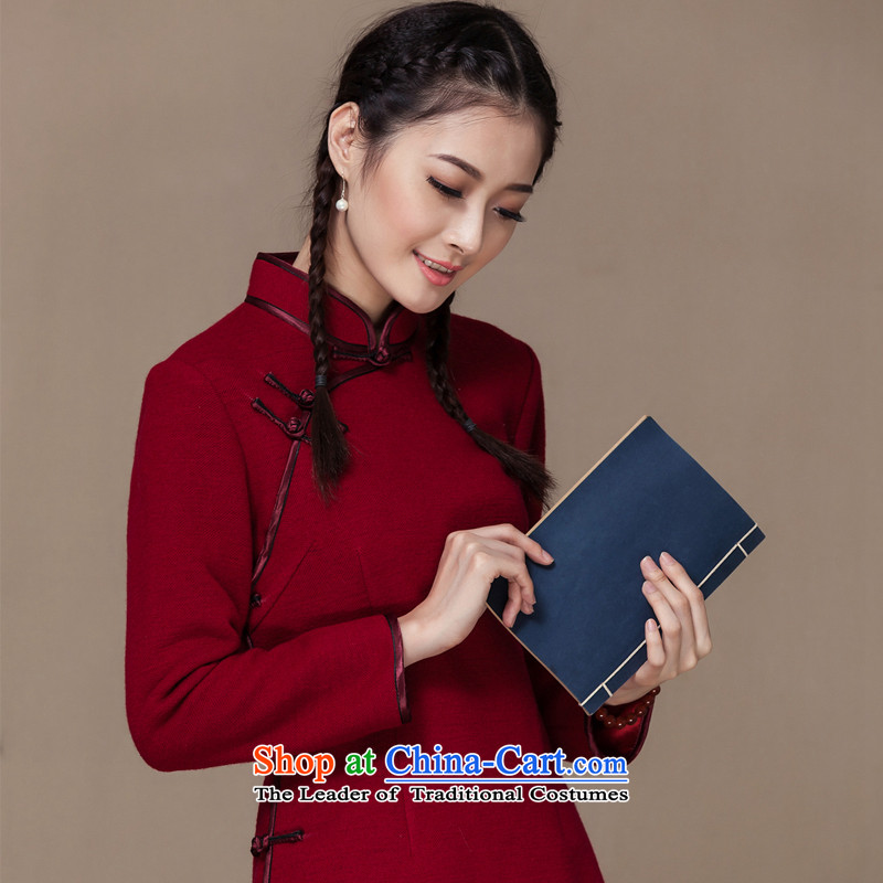 Seal of autumn and winter 2014 new republic of korea wind wool tops qipao? improved long-sleeved Tang Dynasty Chinese female Han-dark red?L