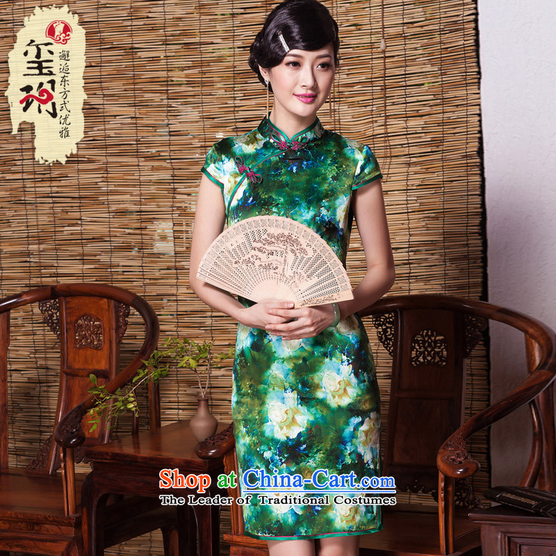 The elections as soon as possible in the greenery of the seal of heavyweight Silk Cheongsam upscale herbs extract cheongsam dress improved color picture dress Ms. stylish?L