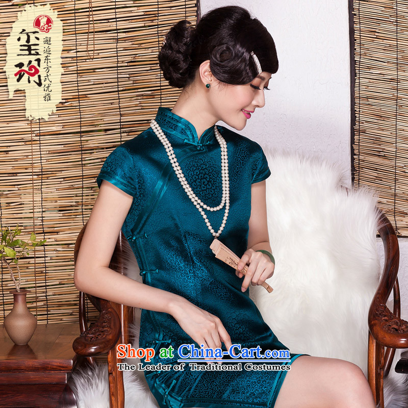 The Seal of Silk Cheongsam?2015 autumn day-to-dos Santos Silk Cheongsam retro skirt elegant banquet dress pictures of the Republic of Korea color?L