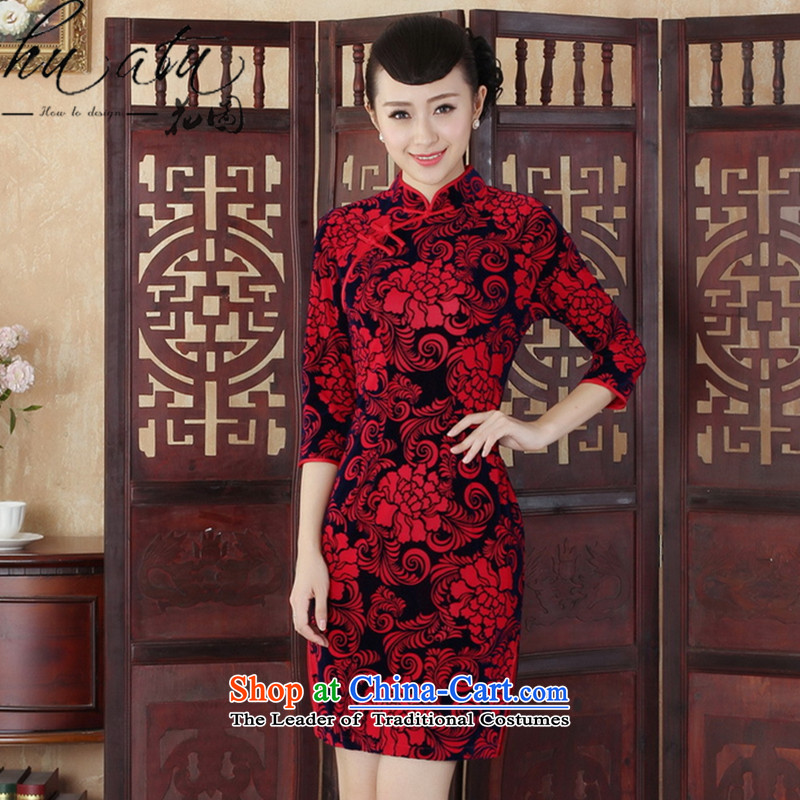 Floral Tang Women's clothes qipao autumn new ethnic Chinese improved Kim scouring pads Sau San collar qipao Skirts 7 Cuff Red燲L