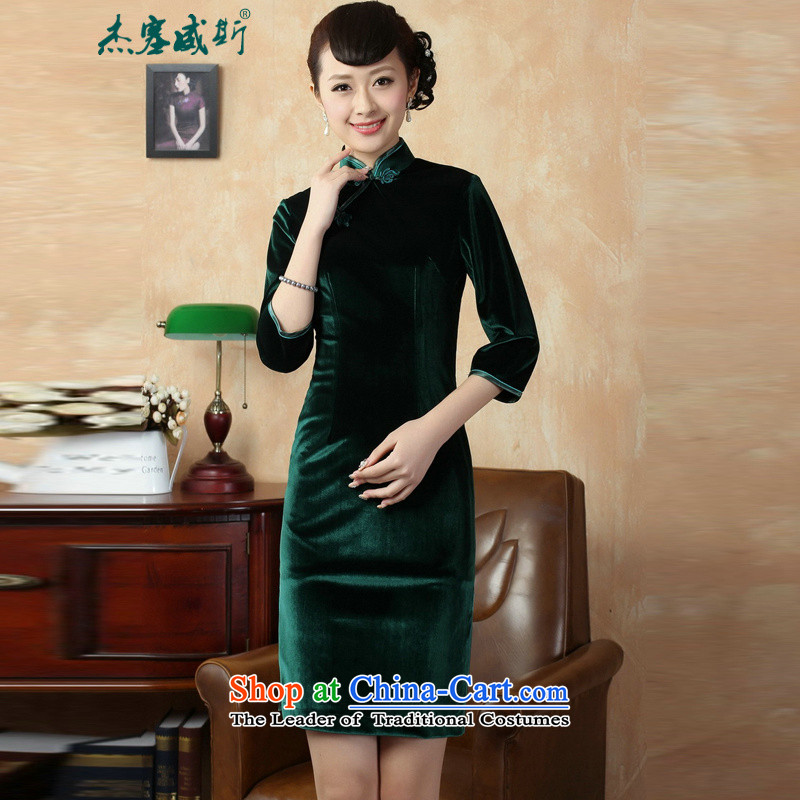 Jie in the autumn and winter new retro elegant collar manually tray clip plain velour cheongsam dress?TD0005#??XXXL green