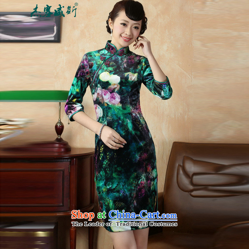 Jie in the autumn and winter new fall inside the elegant manually drive collar elastic Kim detained velvet Tang dynasty cheongsam dress?TD0007?figure?M