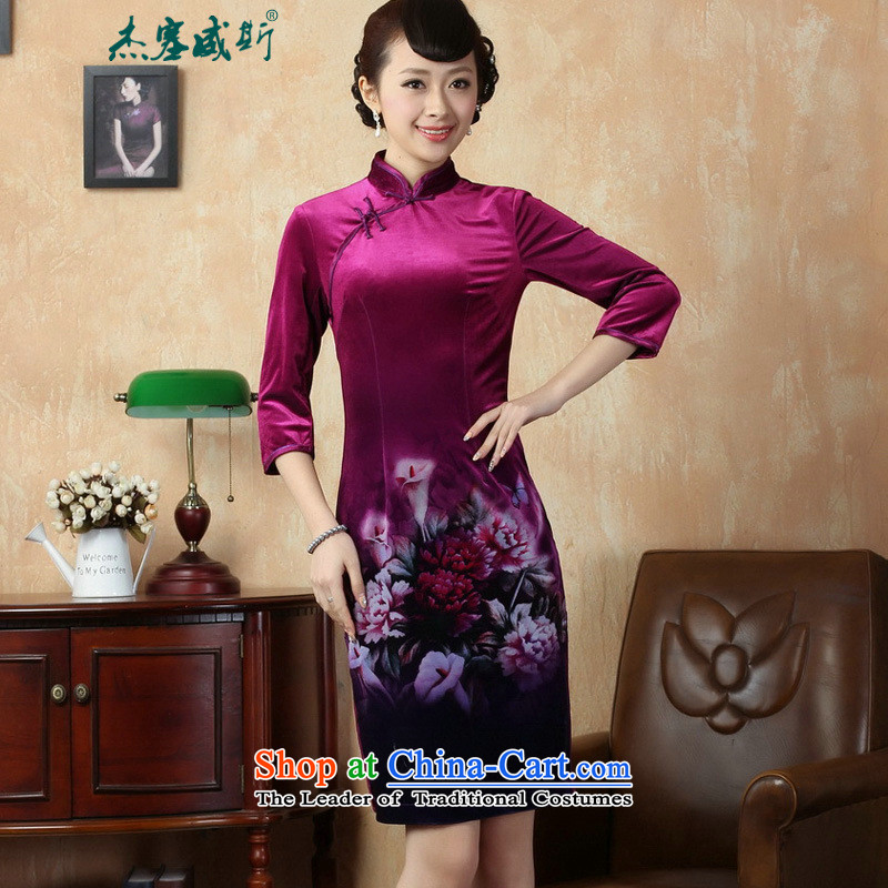 Jie in the autumn and winter new fall inside the elegant manually drive collar elastic Kim detained scouring pads poster printing Tang dynasty cheongsam dress?TD0006?figure?L