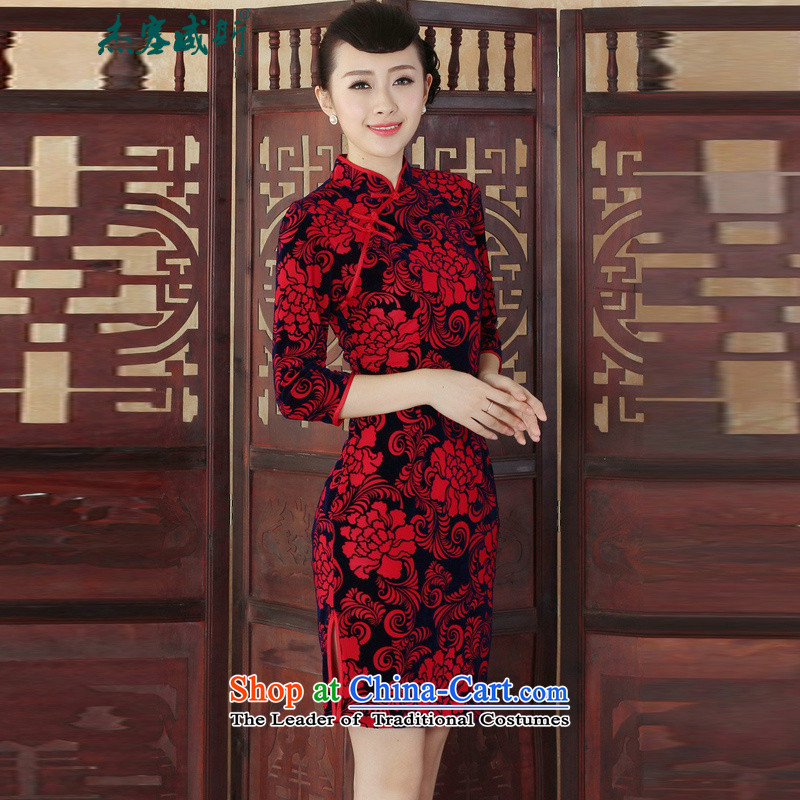 Jie in the autumn and winter new elegant ethnic women's gold velour Sau San cheongsam dress� TD0015爁igure燤