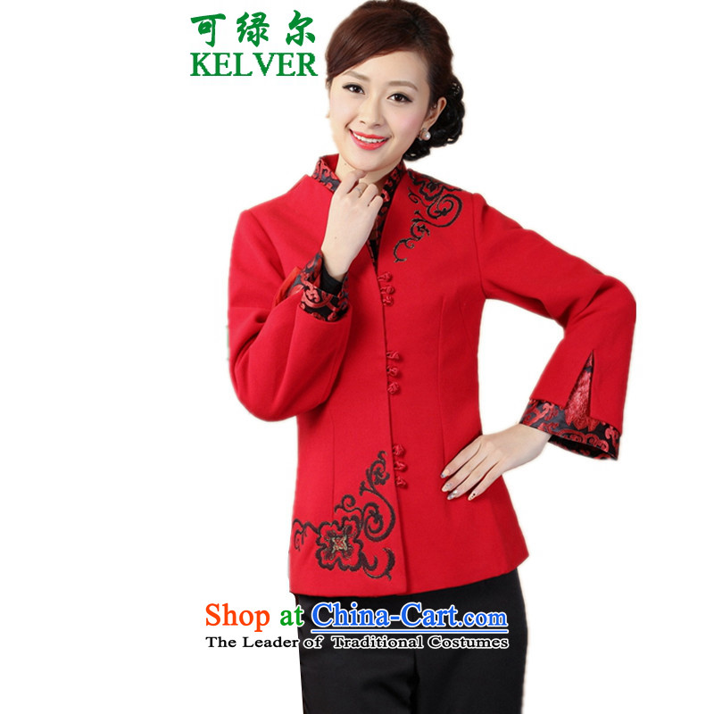 Can Green, older women's autumn and winter trendy new products collar stitching embroidered with tang jackets mother red燣