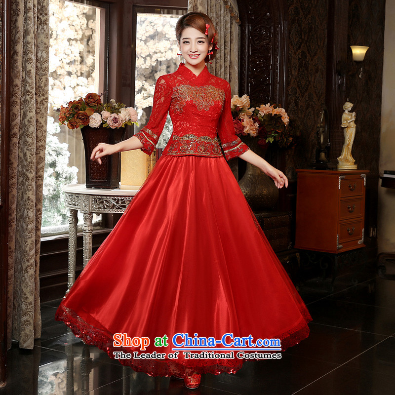The privilege of serving-leung of autumn and winter 2015 new bride red wedding dress uniform in Chinese retro bows cuff cheongsam Red 2XL