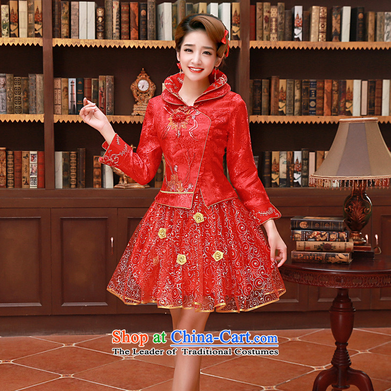 The privilege of serving-leung 2015 Fall_Winter Collections new bride red Chinese wedding dress short, long-sleeved clothing cheongsam red winter bows of lanterns skirt L