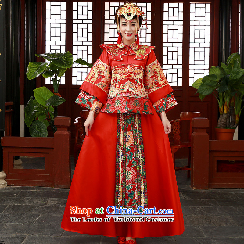 The new 2015 autumn and winter load Soo kimono bride wedding dress qipao bows to Sau Wo service use red dragon S