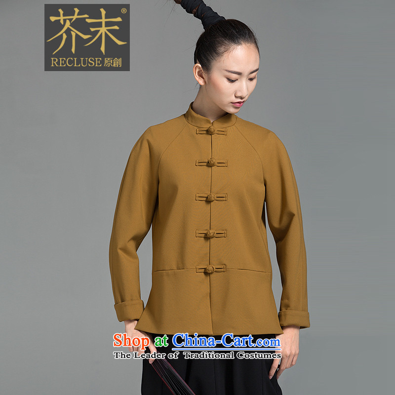 �� mustard original health of the liquor/New Chinese collar disc detained Tang jackets on the autumn and winter female new turmeric yellow?XL