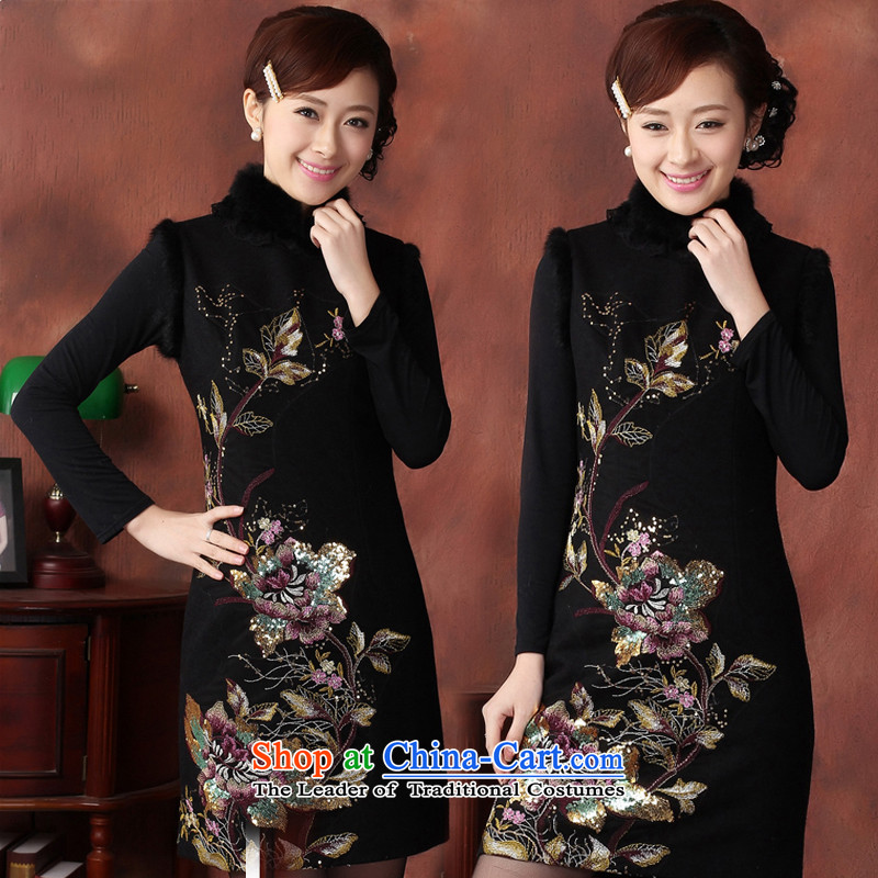 In the former Yugoslavia understand?2015 autumn and winter Li new rabbit hair for embroidery stylish warm improved gross cheongsam dress? short autumn and winter?Q43165 replacing?black?L